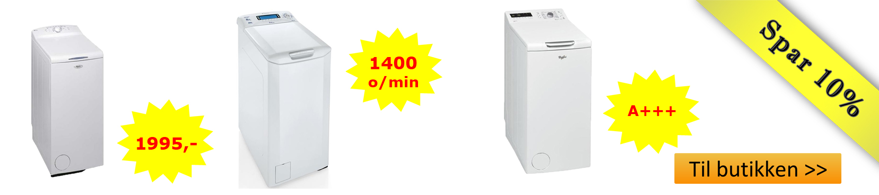 topbetjent vaskemaskine tilbud